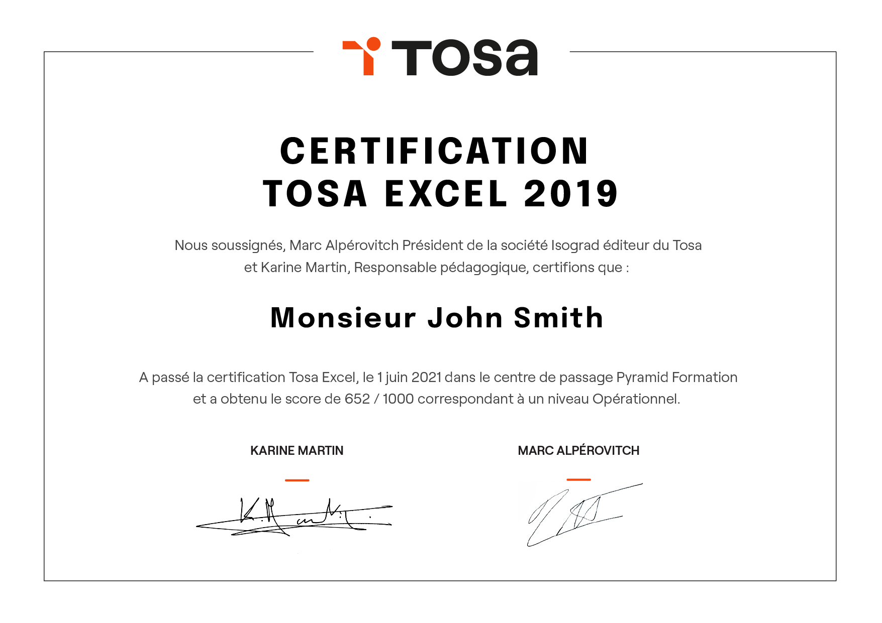 diploma certification tosa score