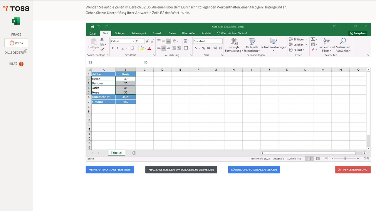 test tosa excel