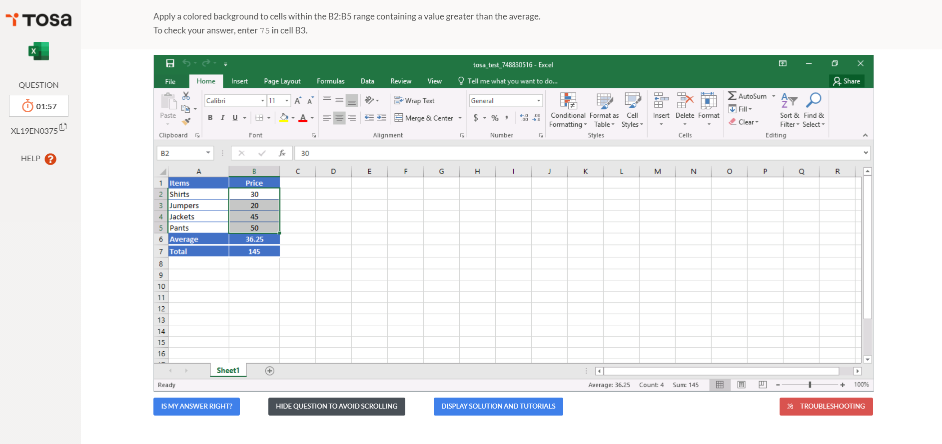 test tosa microsoft excel
