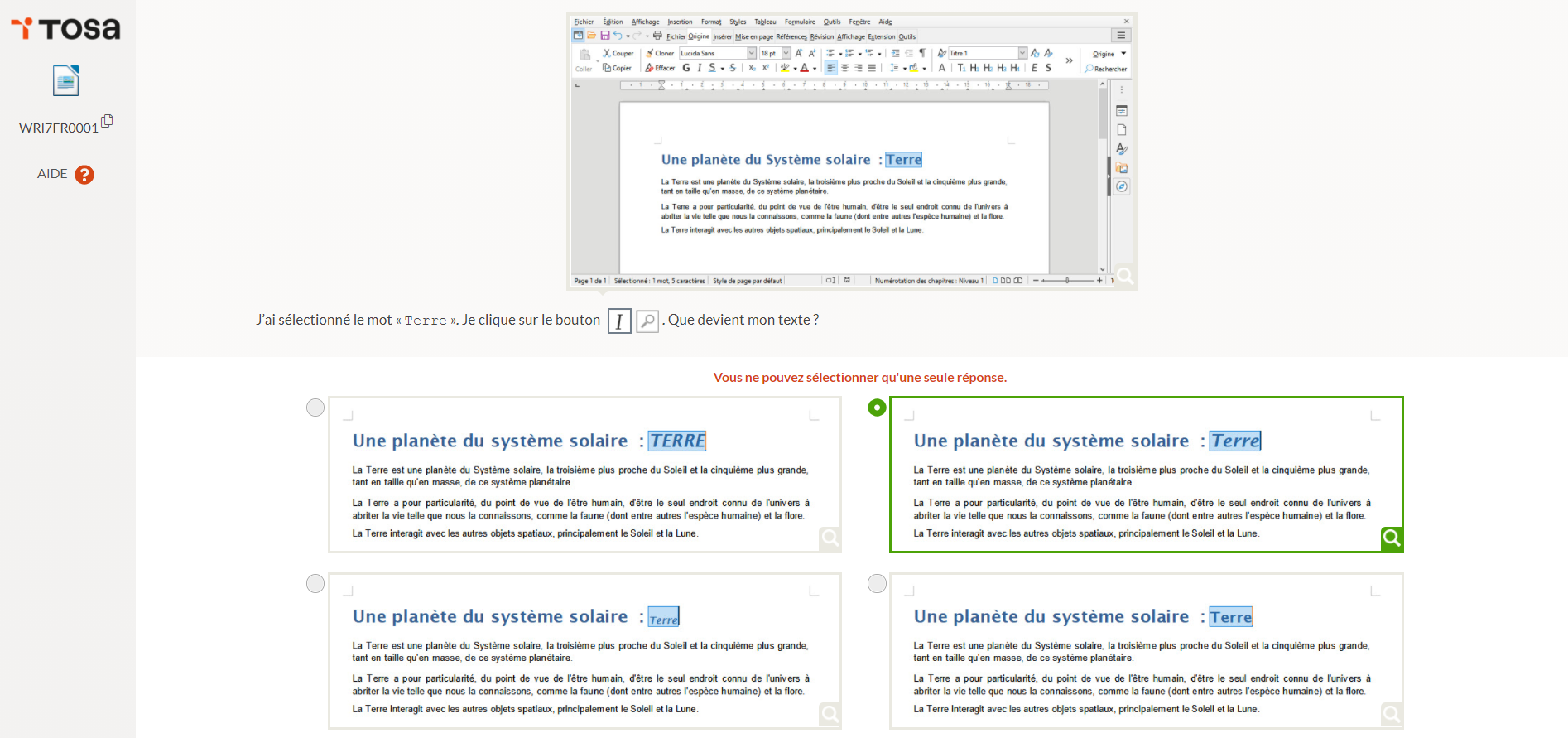 test tosa libreoffice writer
