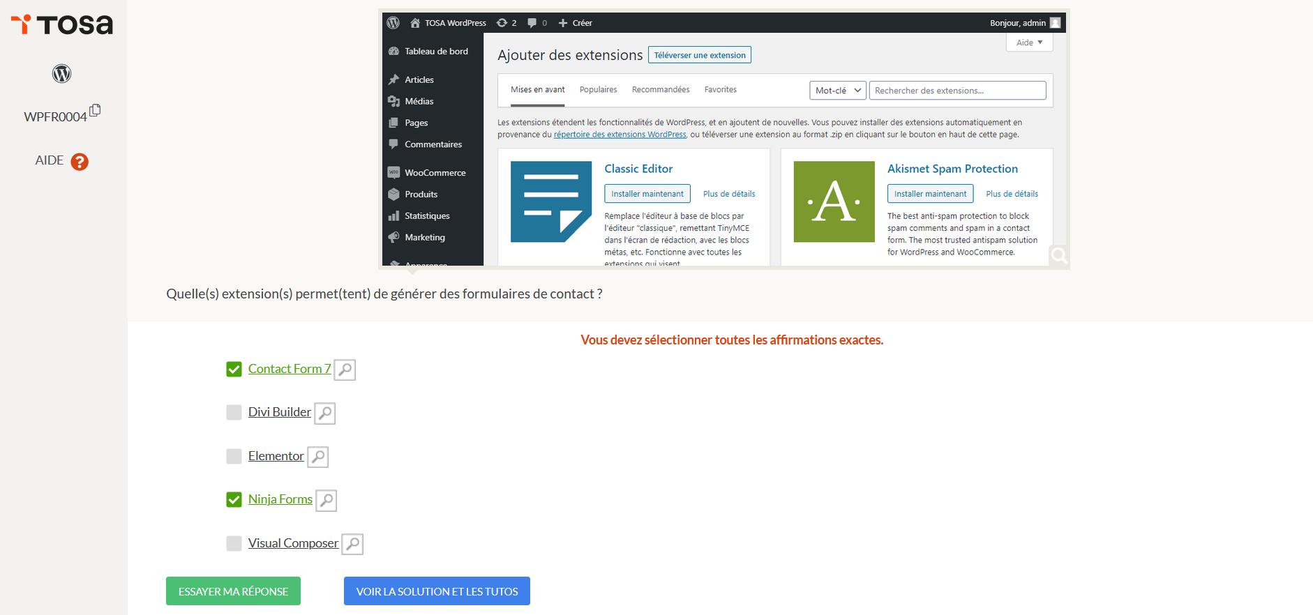 test tosa wordpress
